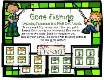 Gone Fishing Nonsense/Real CVC Word Decoding Game