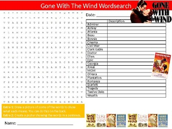 Gone With The Wind Wordsearch Sheet Activity Keywords Novel Movie English