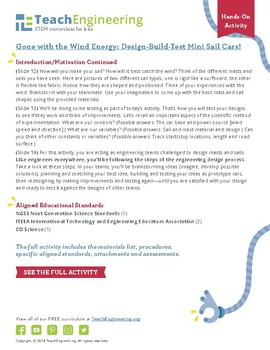 Gone with the Wind Energy: Design-Build-Test Mini Sail Cars!