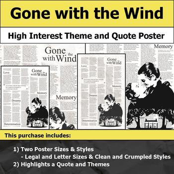 Gone with the Wind - Visual Theme and Quote Poster for Bulletin Boards