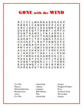 Gone with the Wind: Word Search Puzzle with Hidden Message—Fun Filler Activity!