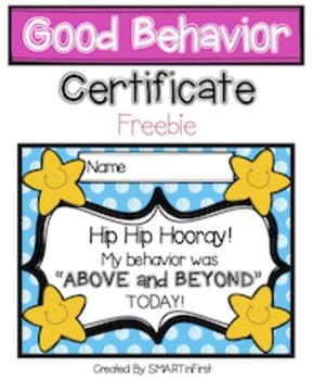 Good Behavior Certificate