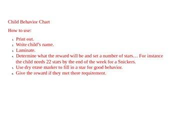 Good Behavior Chart