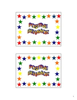 Good Behavior Punch Card Positive Behavior Classroom Manag