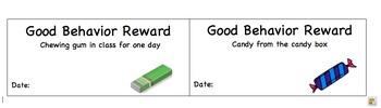 Good Behavior Reward Sheet for Middle and High School
