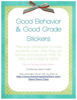Good Behavior/Good Grade Stickers