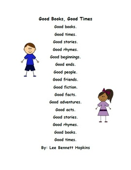 Good Books, Good Times - Poem and Comprehension