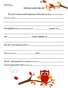 Good-Bye, Summer!  Hello, Fall! Common Core Writing Outline for Special Ed