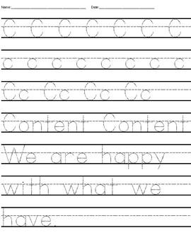 Good Character Tracing Sheets