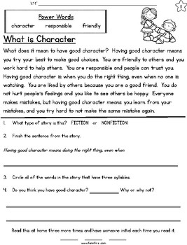 Good Character Fluency Passages