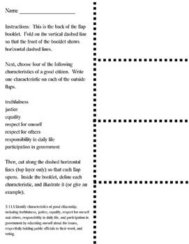 Good Characteristics of Citizenship Flap Booklet (3rd Grade Social Studies)