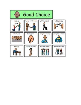 Good Choice Bad Choice file folder or Worksheet sort Autism