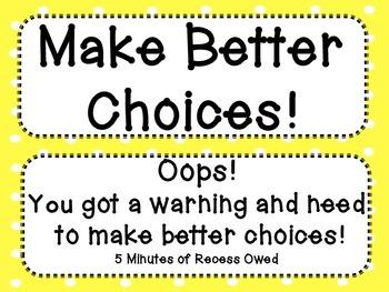 Good Choices Clip Chart