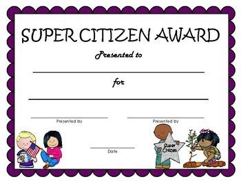 Good Citizen Award Certificates