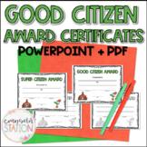 Good Citizen Award Certificates for School Counselors