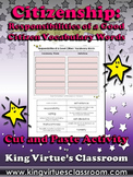 Good Citizen: Responsibilities Vocabulary Cut and Paste Activity - Citizenship