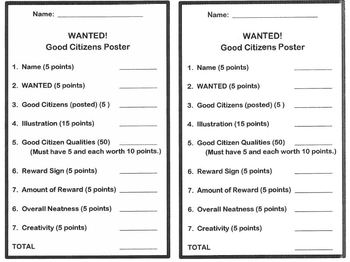 Good Citizen Wanted Poster- Citizenship Social Studies
