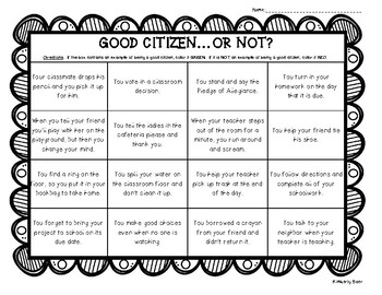 Good Citizen ... or Not? Color Sorting Worksheet - Citizenship
