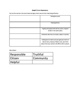 Good Citizens Worksheet