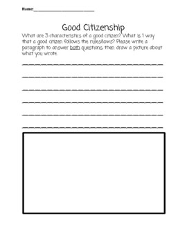 Good Citizens Writing Prompt for Social Studies