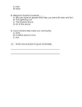 Good Citizenship Assessment - Editable