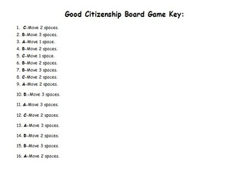 Good Citizenship Board Game Cards and Answer Key