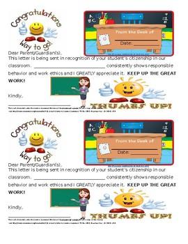 Middle School ELA Good Citizenship Letter to Parents