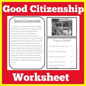 Good Citizenship Worksheets Teachers Pay Teachers