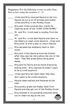 Good Crooks: Missing Monkey! (Mary Amato) Novel Study / Reading Comprehension