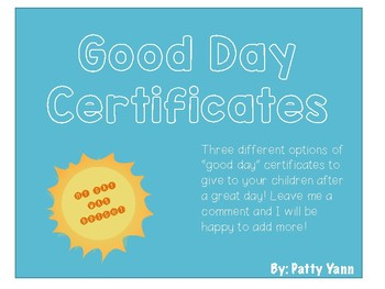Good Day Certificates
