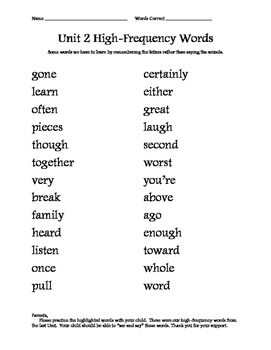 Good Habits, Great Readers High Frequency Words