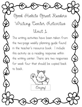 Good Habits, Great Readers Writing Center Activities