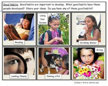 Good Habits Vocabulary Photo Flashcard Station