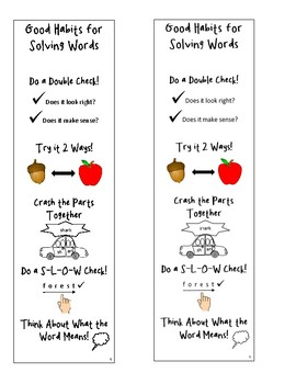 Good Habits for Solving Words Bookmark #2