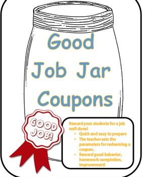 Good Job Jar Coupons for Rewards - Positive & Inexpensive Classroom Rewards!