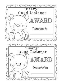 Good Listener Award Printable