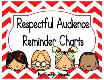 Good Listener/Respectful Audience Reminder Charts (Red Chevron)