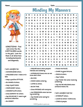 Good Manners Activity - Word Search Worksheet FUN