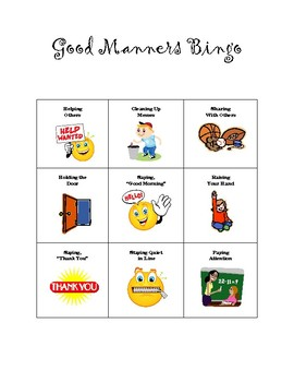 Good Manners Bingo
