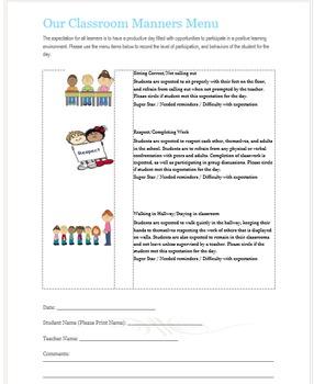 Good Manners Menu for Classroom Management