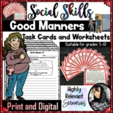 Social Skills - Good Manners Task Cards and Worksheets