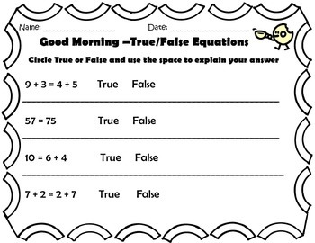 Good Morning - Add and Subtract Ten, Missing Addend, True/False Equations
