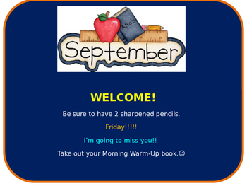 Good Morning Class Slides for September-June