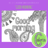 Good Morning ESL EFL Conversation Classroom Coloring Activity