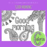 Good Morning ESL EFL Conversation Classroom Coloring Activity