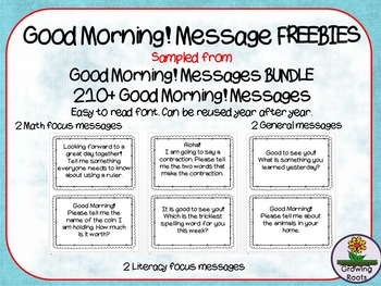 Good Morning! Messages : messages to welcome children at the door FREE