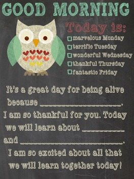 Good Morning Message Poster - would make GREAT Teacher  Gift