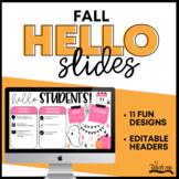 Good Morning Slides - Fall Theme