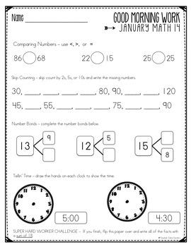 Good Morning Work - Math - January (1st Grade)