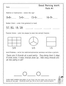 Good Morning Work - Math - June (1st Grade)